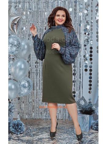 Стильное женское платье с объемными рукавами для полных