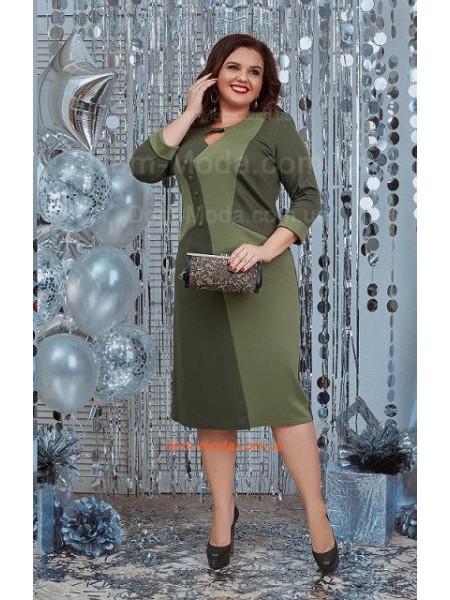 Стильное платье цвета хаки с рукавом три четверти для полных