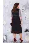 Стильное женское платье со вставками кожи большого размера