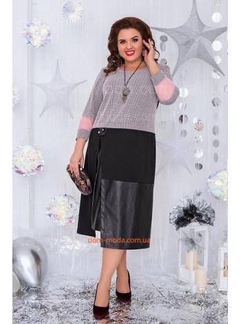 Стильне жіноче плаття зі вставками шкіри великого розміру