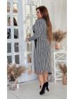 Стильное платье миди с длинным рукавом для полных