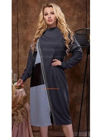 Короткое стильное платье с длинным рукавом для полных