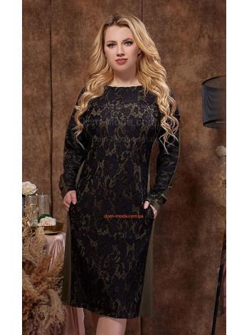 Жіноче вечірнє плаття із рукавом для повних