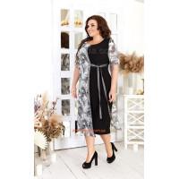 Красивое женское платье с коротким рукавом для полных