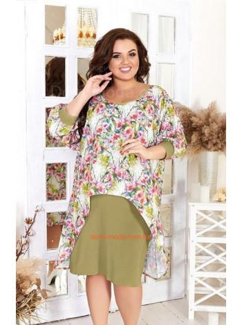 Короткое летнее платье в принт большого размера