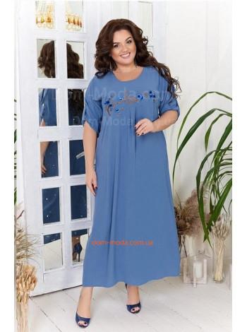 Летнее льняное платье с коротким рукавом для полных