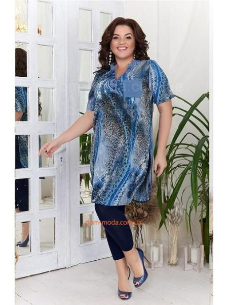 Жіночий літній костюм із тунікою і лосінами для повних