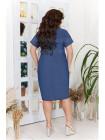 Короткое джинсовое платье в принт для полных
