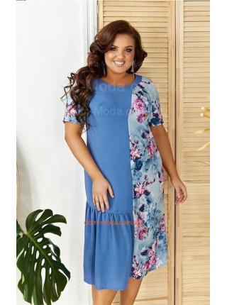 Стильное летнее льняное платье для полных