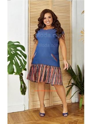 Короткое джинсовое платье для полных