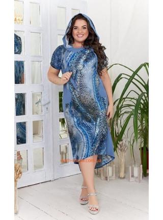 Стильное летнее платье с капюшоном для полных