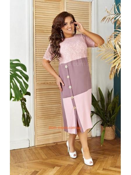 Вечернее летнее платье за колено большого размера