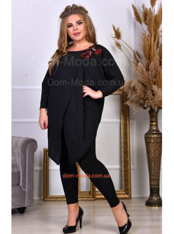 Жіночий модний костюм з лосінами великого розміру