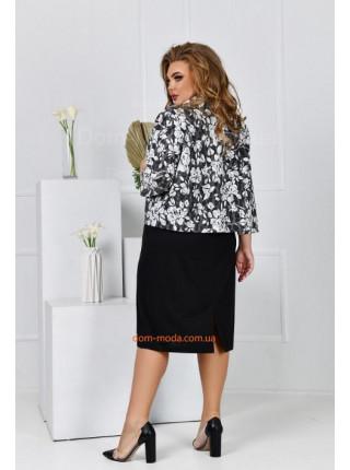 Трикотажний сарафан з піджаком для повних