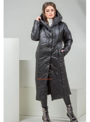 Довга зимова куртка на синтепоні сірого кольору норма і батал