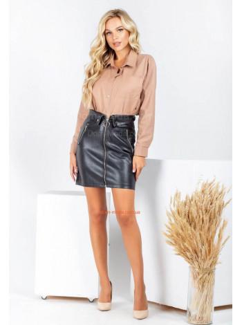 Короткая кожаная юбка с замком