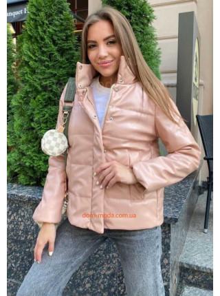 Кожаная куртка на синтепоне женская
