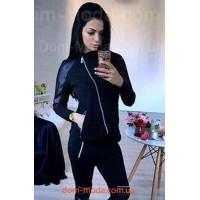 Чорна спортивна кофта жіноча з шкіряними вставками