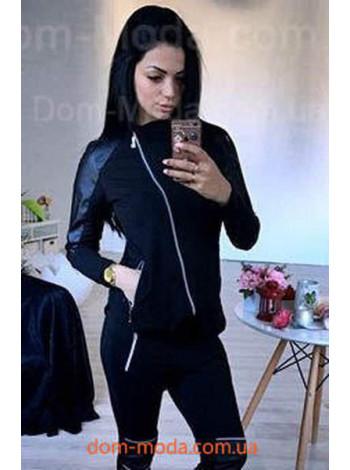 Черная спортивная кофта женская с кожаными вставками