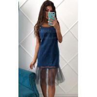 Джинсовое платье сарафан с воланом внизу