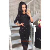 Жіноче плаття з бусинами чорного кольору