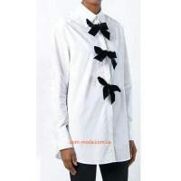 Женская белая рубашка с бархатными бантиками