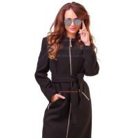 Модное кашемировое пальто на молнии