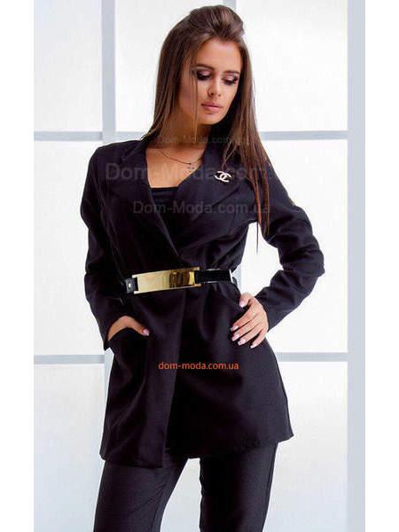 """Удлиненный пиджак с поясом """"Шанель"""" норма и батал"""
