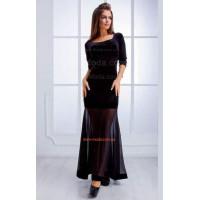 Нарядное длинное велюровое платье с сеткой