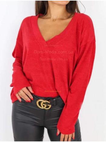 Женская модная кофта пуловер с эффектным декольте