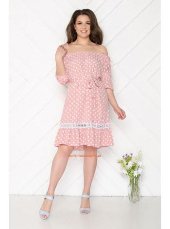 Літнє жіноче плаття в великий горох з поясом