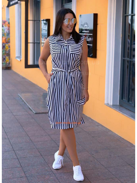 Плаття сорочка в полоску для повних
