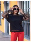 Женская модная кофта большого размера с прозрачными рукавами