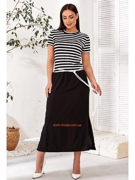 Черно белое платье в полоску
