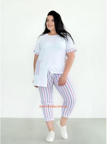Модный летний костюм с футболкой большого размера