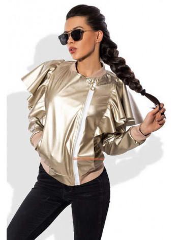 Шкіряна жіноча куртка з рюшами
