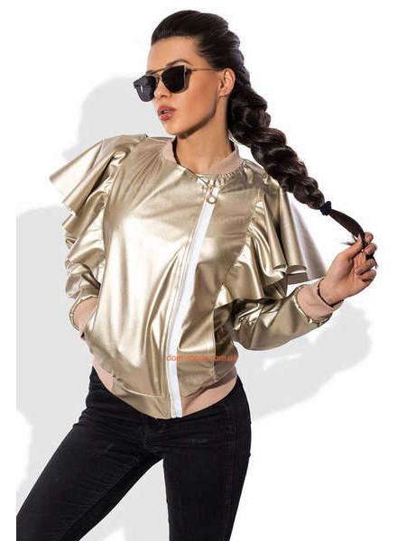 Кожаная женская куртка с рюшами