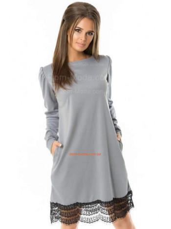 Трикотажне плаття з мереживом сірого і чорного кольору