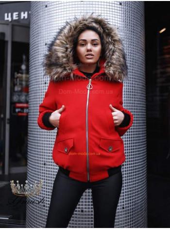 """Коротка жіноча куртка з капюшоном і хутром """"Дамаск"""""""