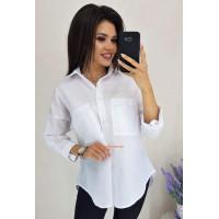 Стильная белая рубашка с длинными рукавами