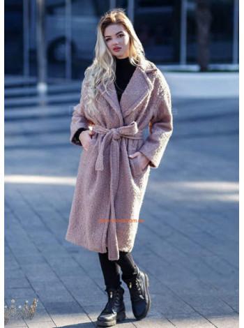Стильное женское пальто на запах с поясом