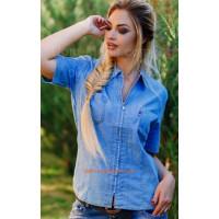 """Женская джинсовая стильная рубашка """"Vс"""""""