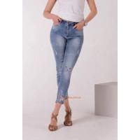 Молодежные женские джинсы с мордочками на коленях