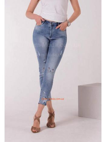 Молодіжні жіночі джинси з мордочками на колінах