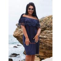 Стильний жіночий сарафан з відкритими плечима і рюшами великого розміру