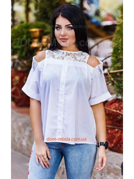 Женская молодежная рубашка с открытыми плечами большого размера