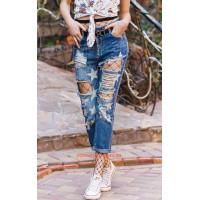 Женские молодежные джинсы со звездами