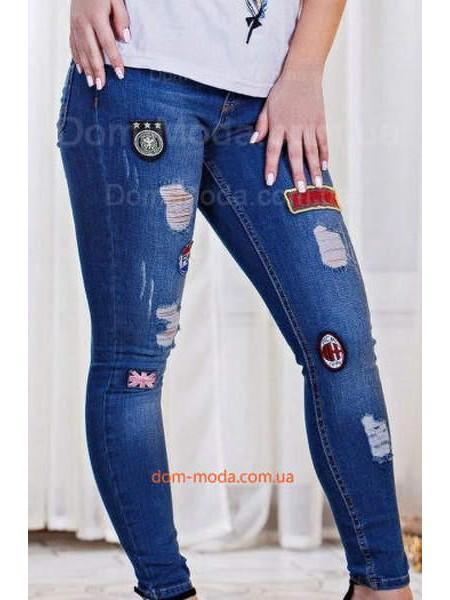 Жіночі стильні джинси скинні із нашивками і протертостями ... e2bdbc9589444
