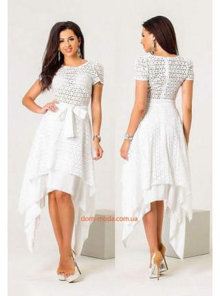 Нарядное платье белого, темно-синего и фиолетового цвета