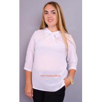Женская классическая блуза с длинным рукавом и воротничком